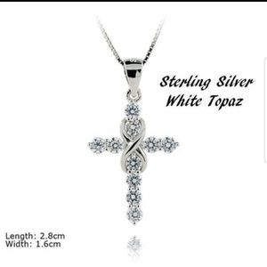 Jewelry - New sterling silver white topaz cross necklace